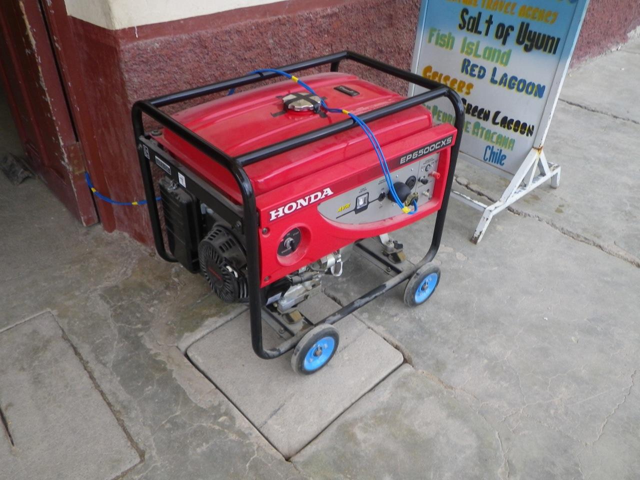 ガソリンを使った発電機